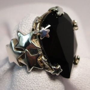 Interesting Large Onyx Silver (925) Statement Ring